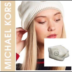 NWT Michael Kors Cream Studded Logo Gold Beret